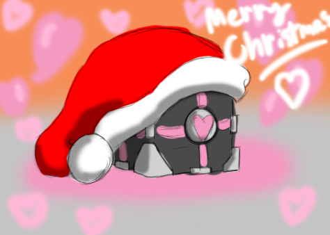 """Christmas Companion Cube"" by solarpaintdragon"